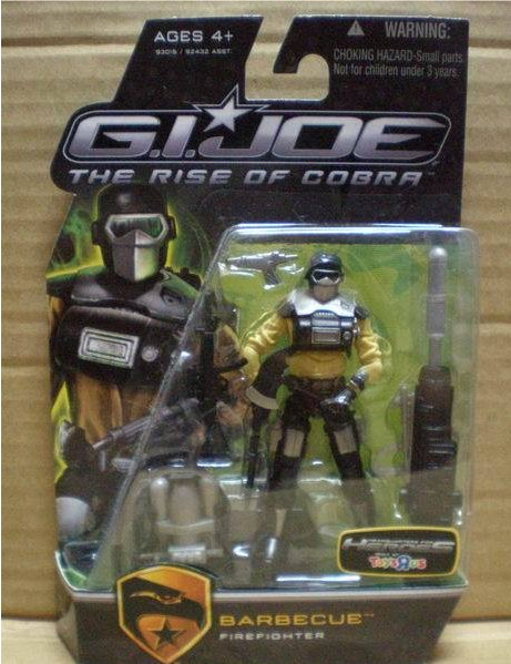 JOE RISE OF COBRA BARBECUE FIREFIGHTER TOYS R US EXCLUSIVE CARDED FIGURE G.I